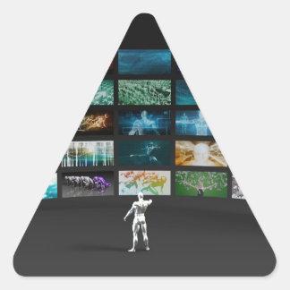 Márketing video a través de los canales múltiples pegatina triangular