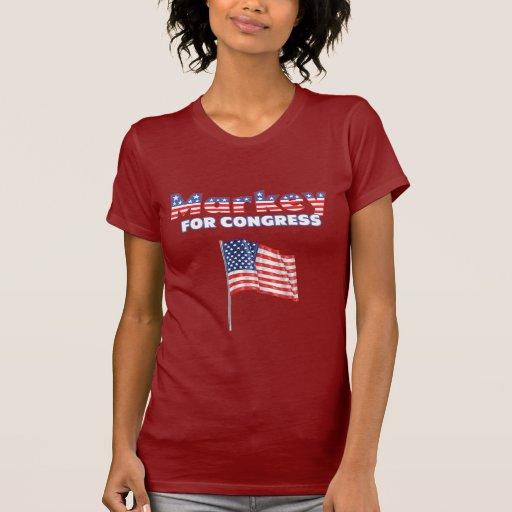 Markey para el diseño patriótico de la bandera playeras