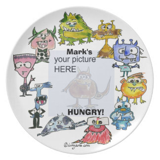 Mark's Hungry Cartoon Monsters Personalized Plate