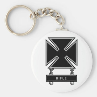 Marksman Badge w/Rifle Bar Keychain