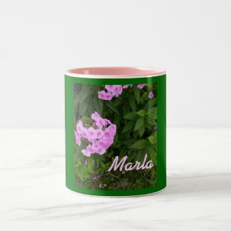 Marla-Name Style-Floral Design-Mug Two-Tone Coffee Mug