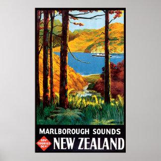 Marlborough suena Nueva Zelanda Póster