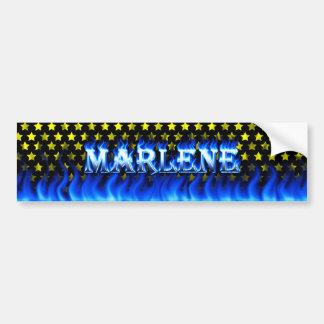 Marlene blue fire and flames bumper sticker design