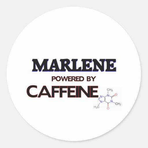 Marlene powered by caffeine classic round sticker