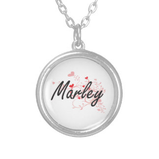 Marley Artistic Name Design with Hearts Round Pendant Necklace