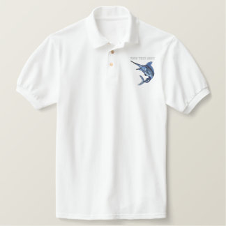 Marlin  - add your text - father's day embroidered polo shirt