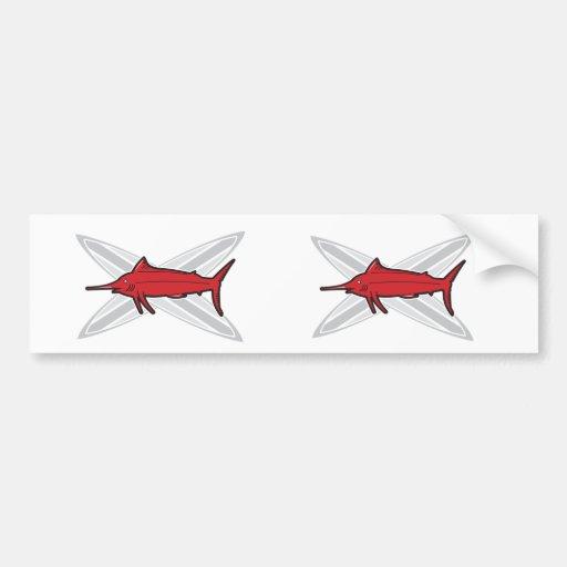Marlin and Surfboards Car Bumper Sticker