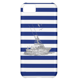 Marlin Fishing Chrome on Blue Stripes Case For iPhone 5C