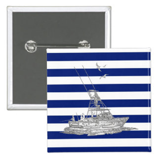Marlin Fishing Chrome on Nautical Stripes Buttons