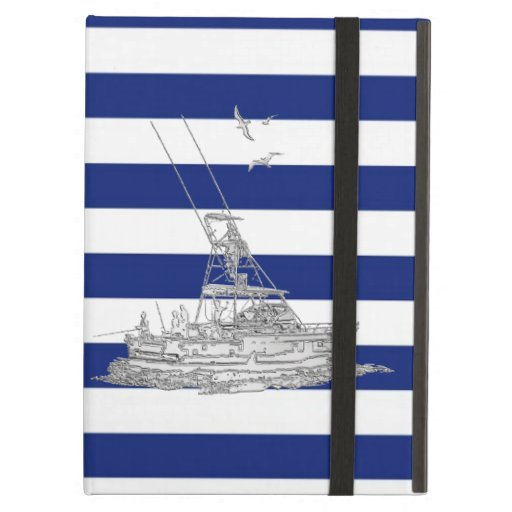 Marlin Fishing Chrome on Nautical Stripes iPad Cases