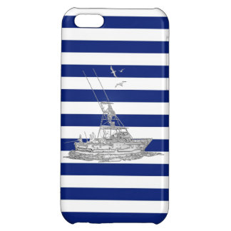 Marlin Fishing Chrome on Nautical Stripes Cover For iPhone 5C