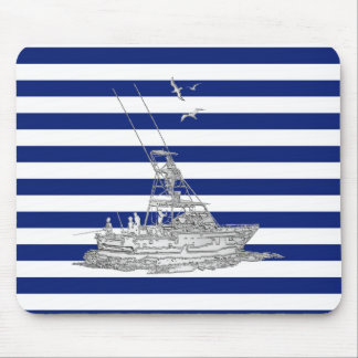 Marlin Fishing Chrome on Nautical Stripes Mouse Pads