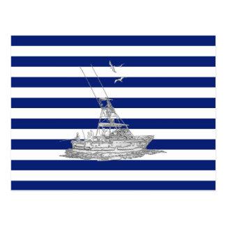 Marlin Fishing Chrome on Nautical Stripes Postcard