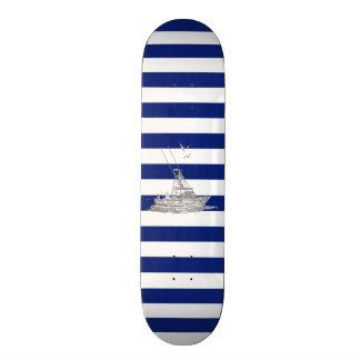 Marlin Fishing Chrome on Nautical Stripes Skateboard