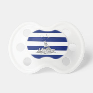 Marlin Fishing Chrome on Navy Stripes Pacifier