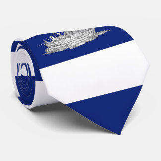 Marlin Fishing Chrome style on Nautical Stripes Tie