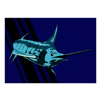Marlin in the shadows Illustration print