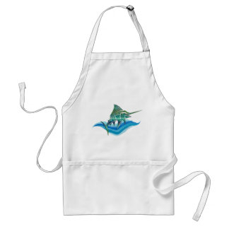 Marlin Jumping From Ocean Adult Apron
