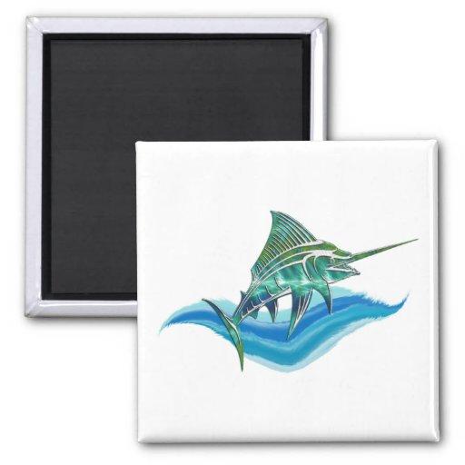 Marlin Jumping From Ocean Fridge Magnets