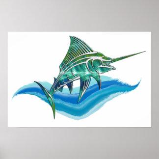 Marlin Jumping From Ocean Print