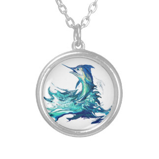 Marlin Sport Fishing Silver Plated Necklace