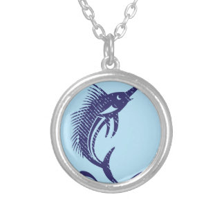 Marlin Sword Fish Silver Plated Necklace