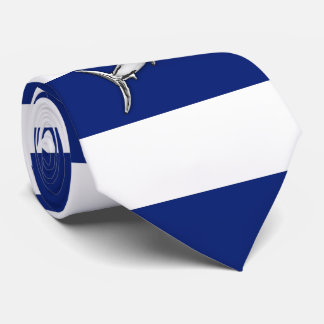 Marlin Swordfish Chrome on Nautical navy Stripes Neck Tie