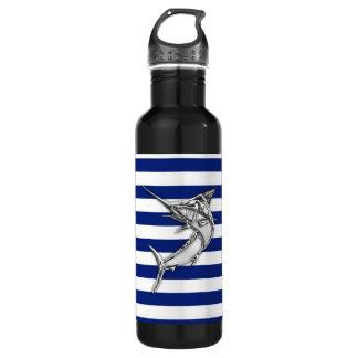 Marlin Swordfish Chrome on Nautical Stripes Stainless Steel Water Bottle