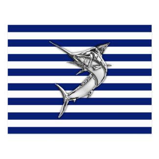 Marlin Swordfish Chrome Style on Nautical Stripes Postcard