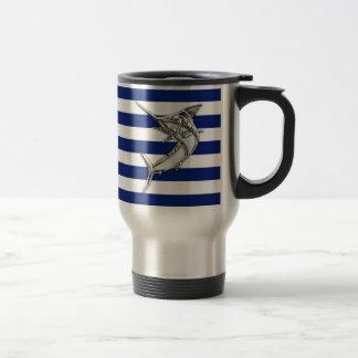 Marlin Swordfish Chrome Style on Nautical Stripes Travel Mug