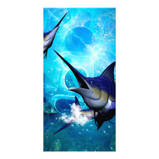 Marlin with bubbles card