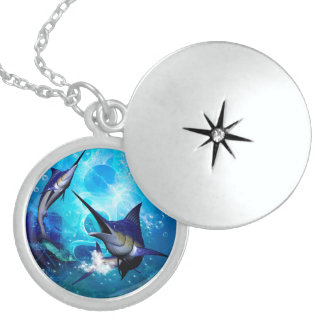 Marlin with bubbles locket necklace