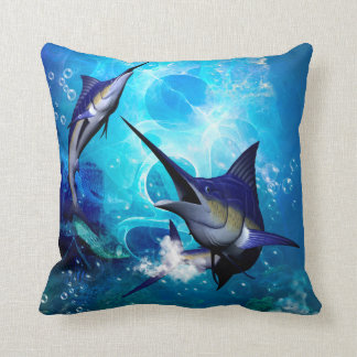 Marlin with bubbles throw pillow