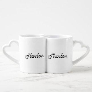 Marlon Classic Retro Name Design Couples' Coffee Mug Set