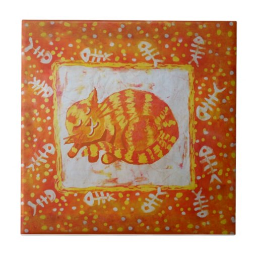 Marmalade cat and fishbones small square tile
