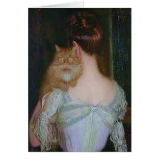 Marmalade Cat and Woman in White Card