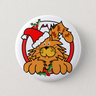 Marmalade Cat at Christmas Button