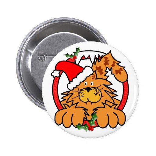Marmalade Cat at Christmas Pin