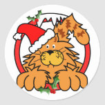 Marmalade Cat at Christmas Round Stickers