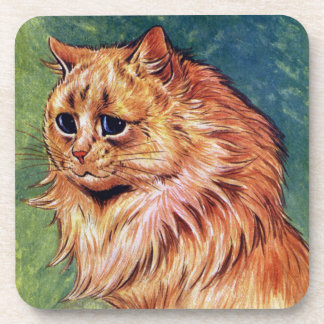 Marmalade Cat with Blue Eyes Beverage Coaster
