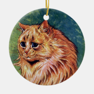 Marmalade Cat with Blue Eyes Ceramic Ornament