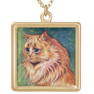 Marmalade Cat with Blue Eyes Square Pendant Necklace