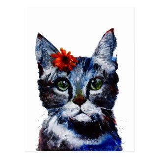Marmalade, the cute cat who wears a flower. postcard