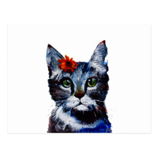 Marmalade, the cute cat who wears a flower. postcard