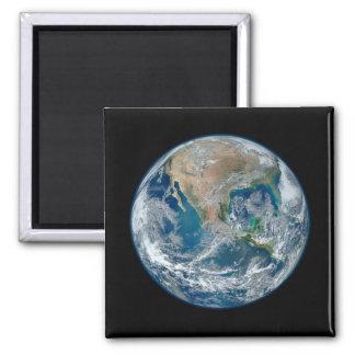 Mármol azul 2015 - tierra, espacio, planetas imán cuadrado