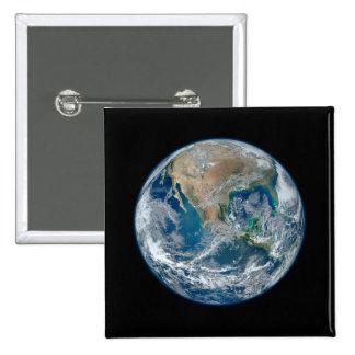 Mármol azul 2015 - tierra, espacio, planetas pin cuadrado