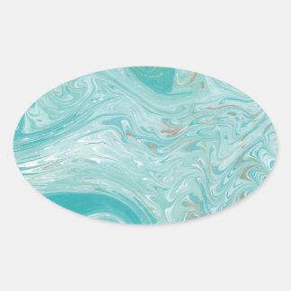 Mármol azul de la onda pegatina ovalada