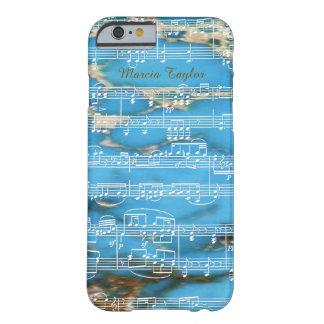 mármol azul de la turquesa con las notas musicales funda de iPhone 6 barely there
