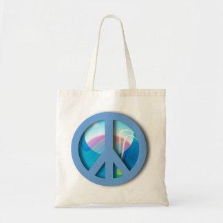 Mármol azul grande de la paz bolsa de mano