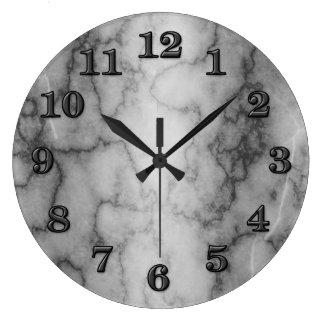 Mármol blanco y negro reloj redondo grande